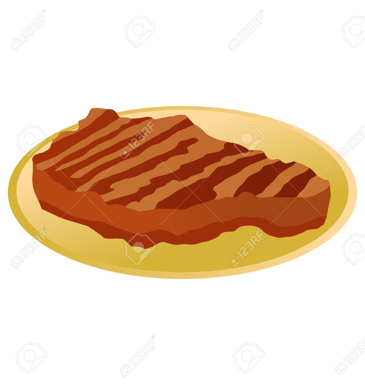 Roast Steak On A Plate On White Background Royalty Free Cliparts.