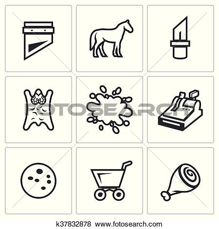 Clip Art of Vector Set of Meat Processing Plant Icons. Guillotine.