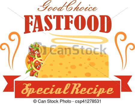 Vectors of Fast food vegetable and meat burrito roll emblem.