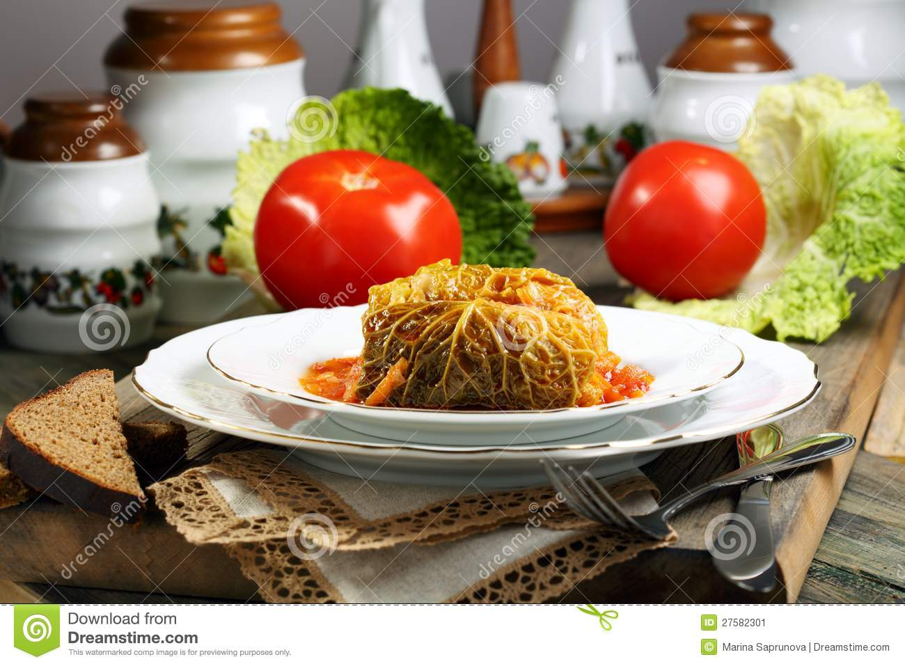 Cabbage Rolls Stuffed With Meat Stock Image Image 27582301.