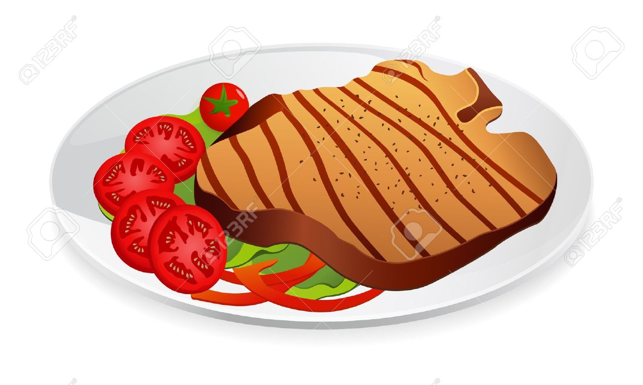 Steak With Vegetables On A Plate Royalty Free Cliparts, Vectors.