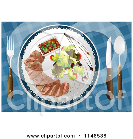 Cartoon of a Plate of Meat and a Salad.