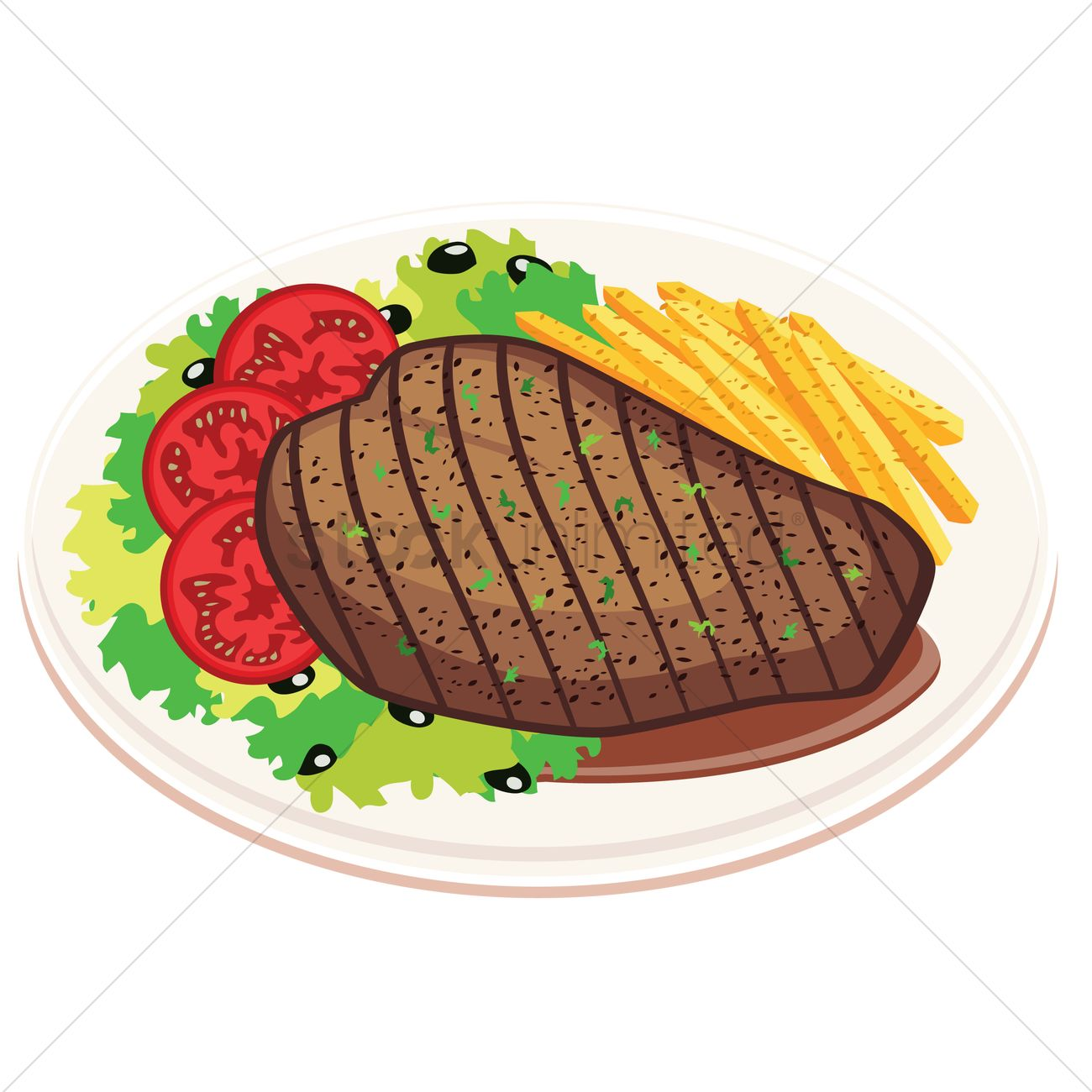 Grilled steak with fries and salad Vector Image.