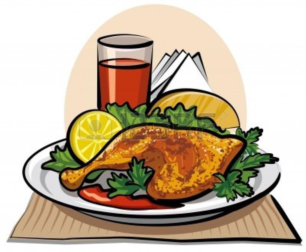 Grilled Chicken Dinner Clipart.