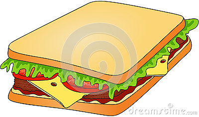 Fast Food Burger With Sesame Meat Salad And Cheese Stock Vector.