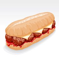Image result for meatball sandwich clipart.