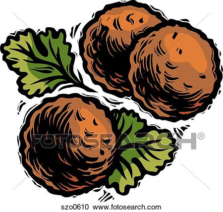 An illustration of three meatballs Clipart.