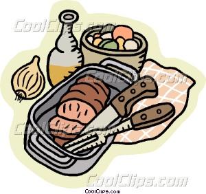 meatloaf in pan Vector Clip art.