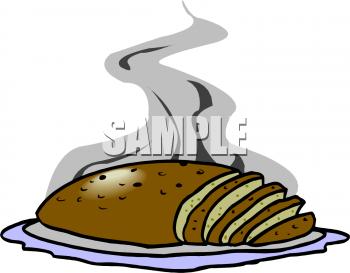 Meatloaf Sliced on a Platter Clipart Image.
