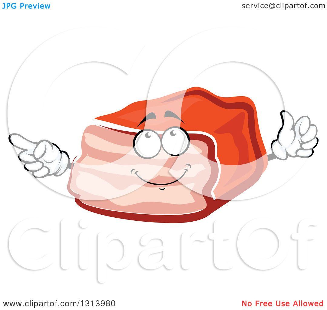 Clipart of a Cartoon Meatloaf Character Pointing and Giving.