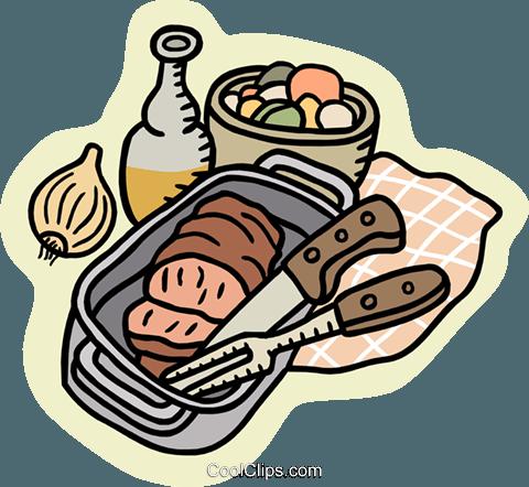 meatloaf in pan Royalty Free Vector Clip Art illustration.