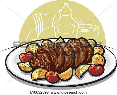 Clip Art of Beef meatloaf with roasted potato k10632398.