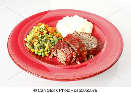 Stock Photographs of Meatloaf with mashed potatoes and vegetables.