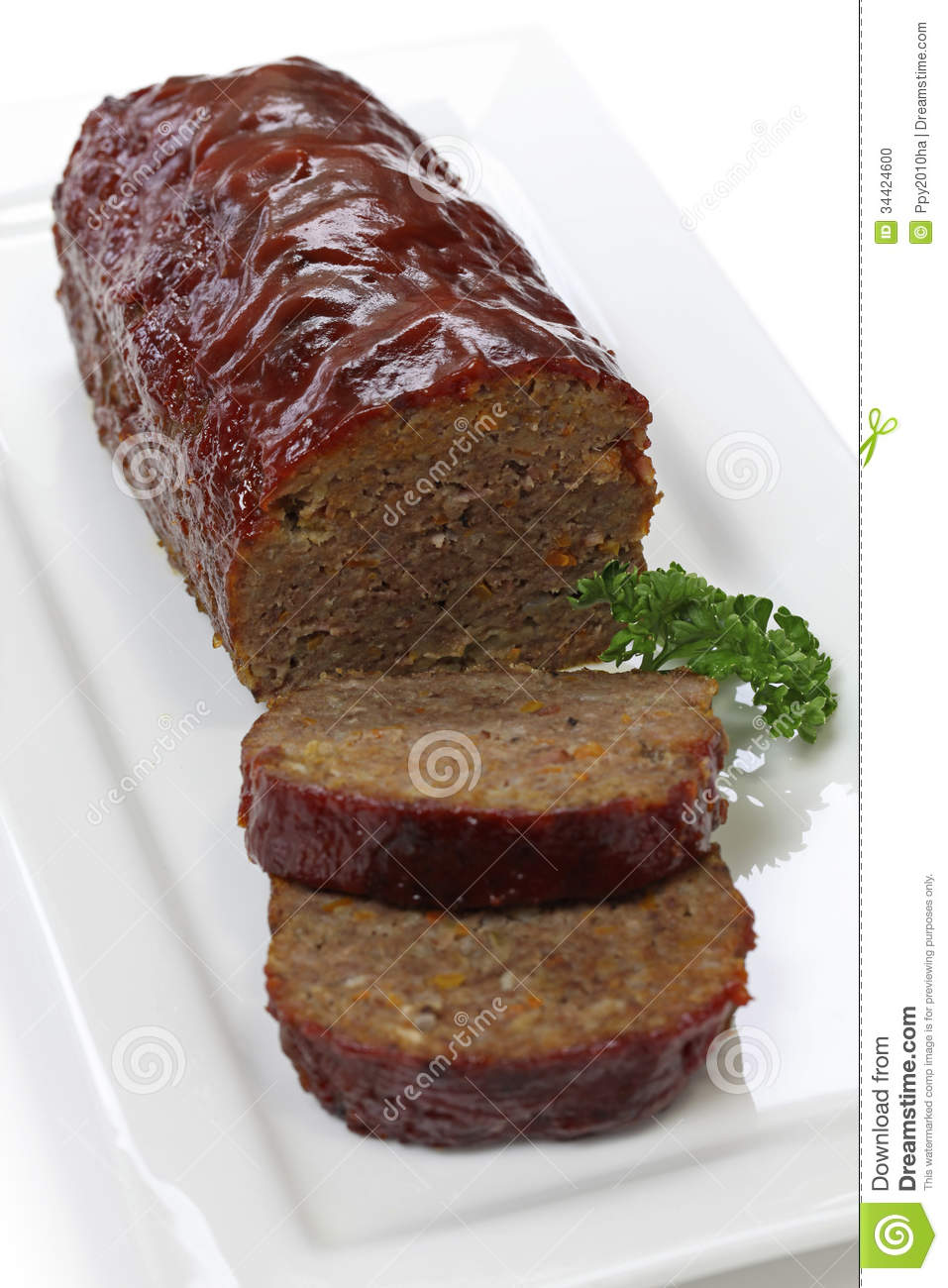 Classic Meatloaf Stock Photo.