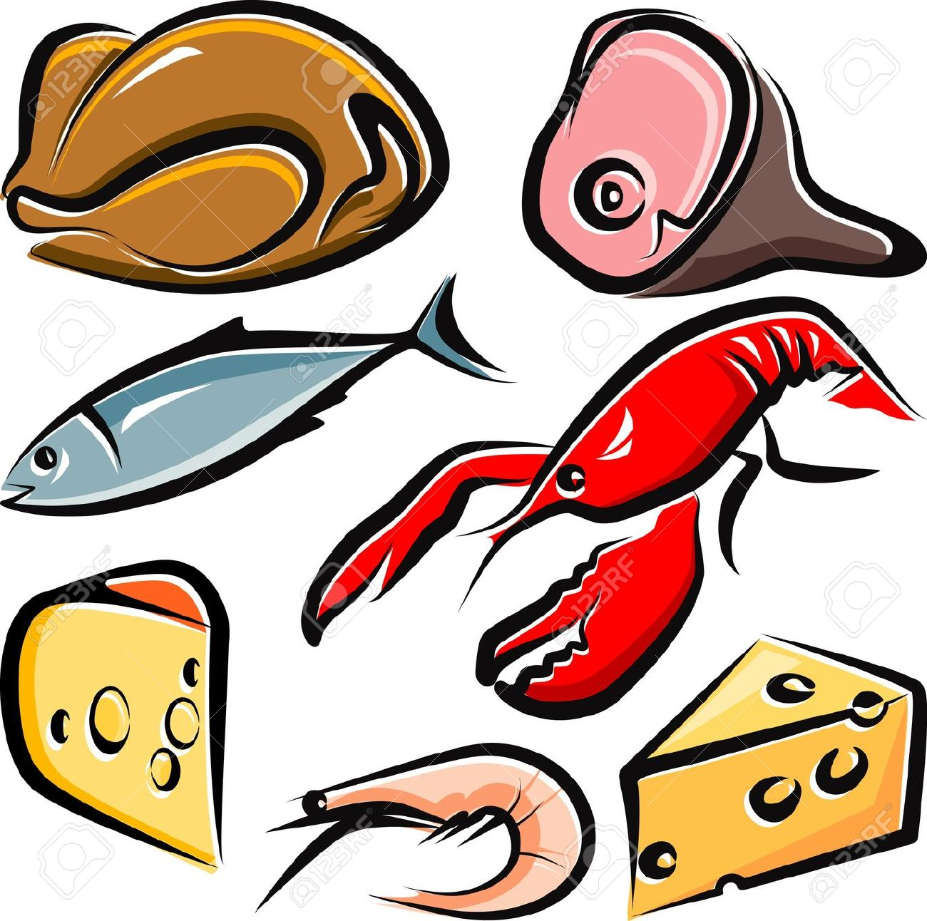 Meat and fish clipart.