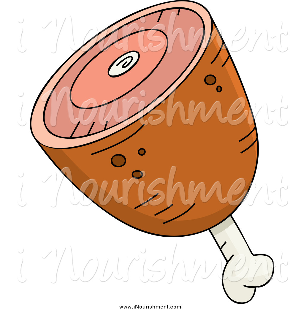 Clipart of a Meaty Ham with Bone by Cory Thoman.