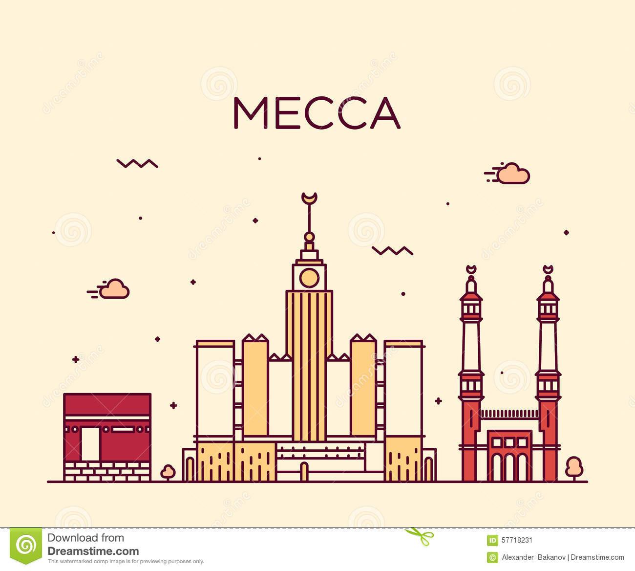 Jakarta Skyline Trendy Vector Illustration Linear Stock Vector.