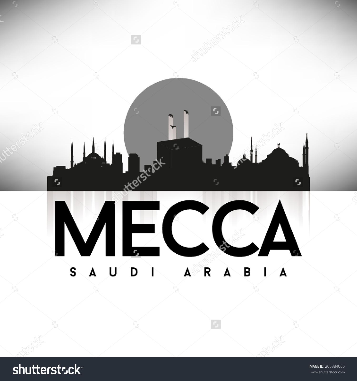 Mecca Saudi Arabia Black Skyline Design Stock Vector 205384060.