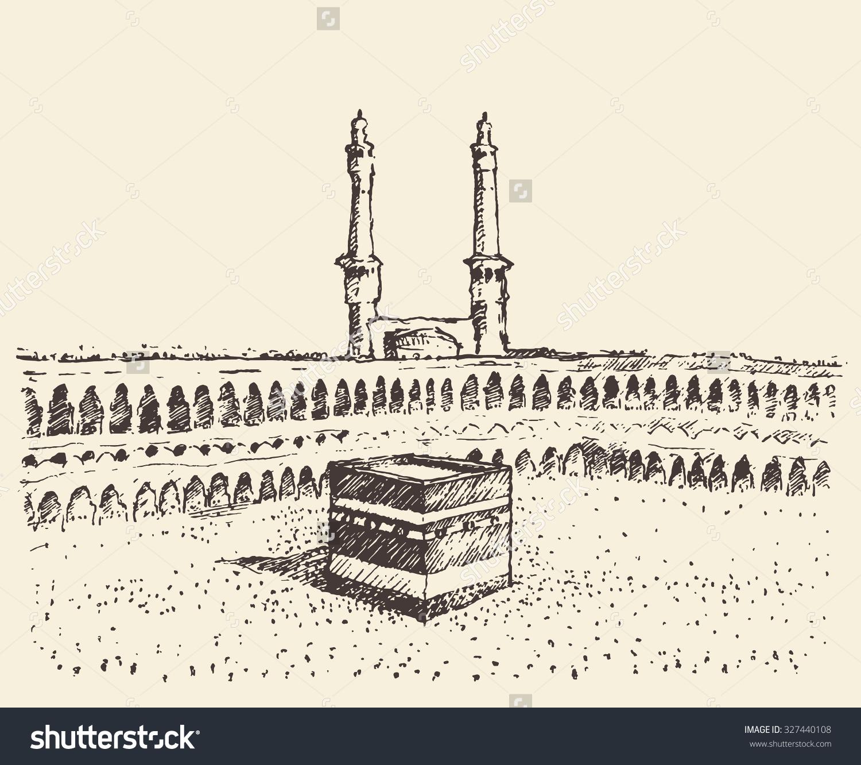 Holy Kaaba Mecca Saudi Arabia Muslim Stock Vector 327440108.