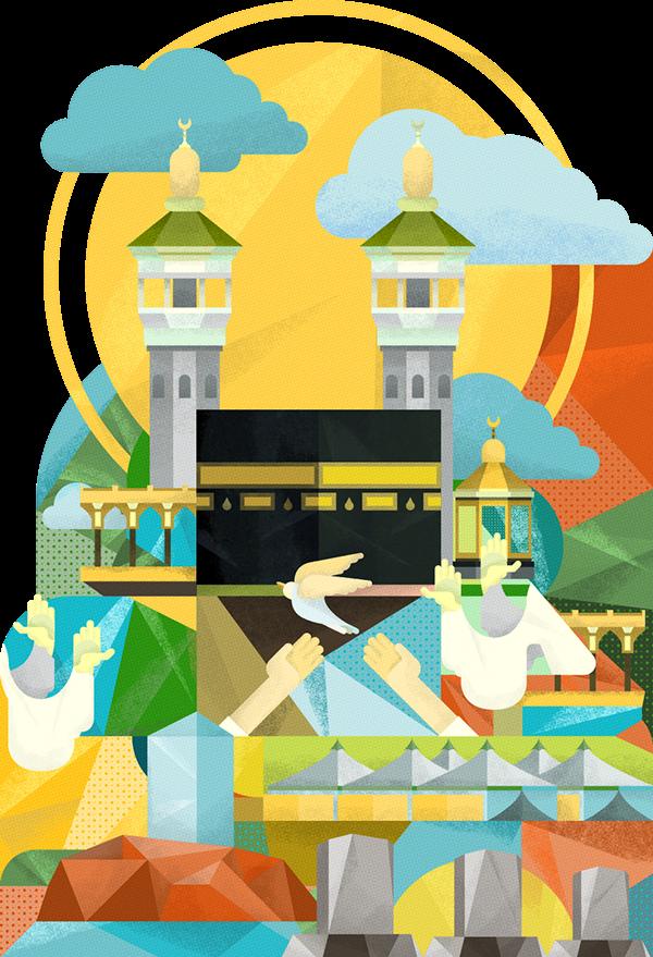 Hajj Journey Illustration on Behance.