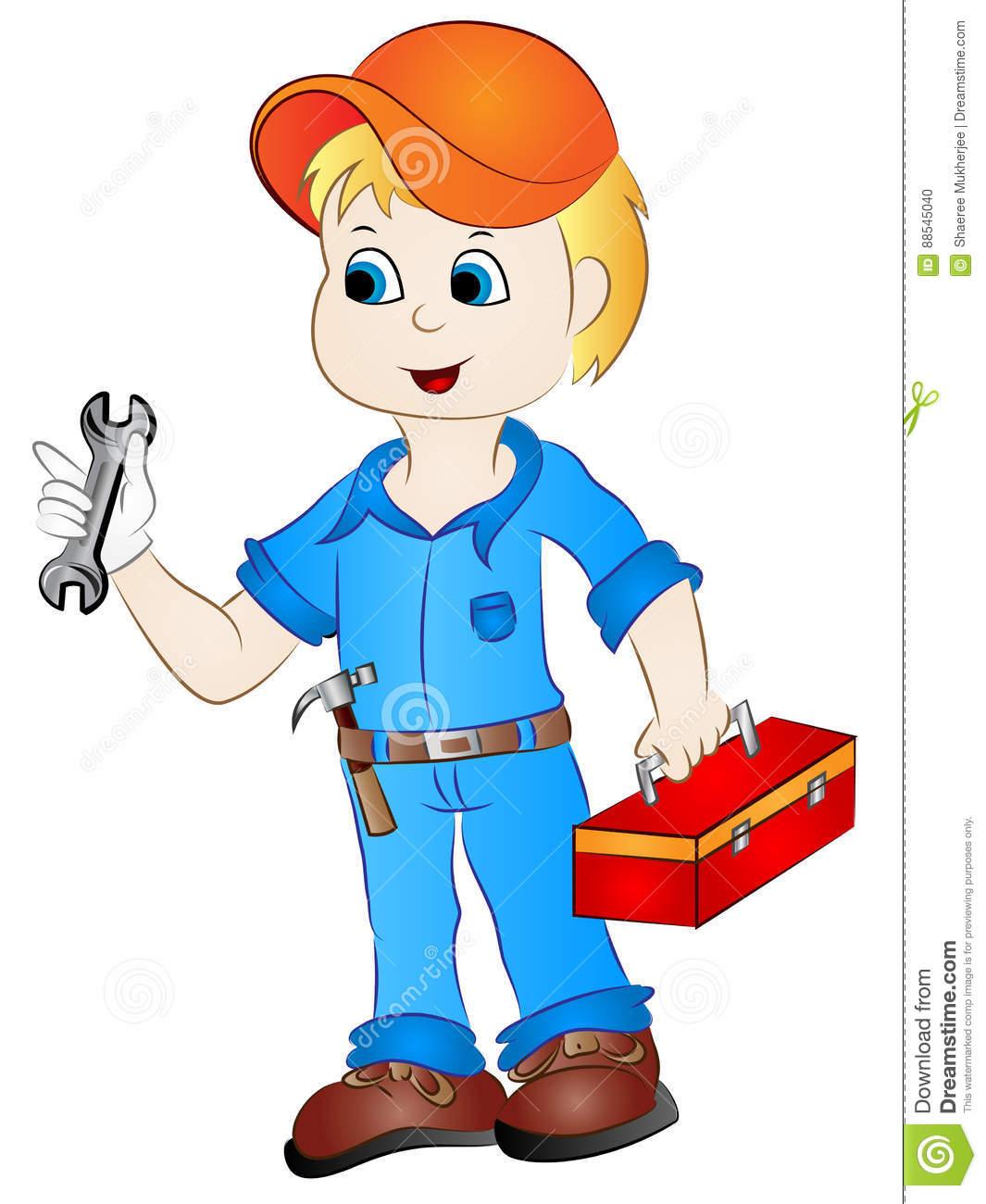 Cartoon Mechanic Handyman Clip Art Stock Vector.