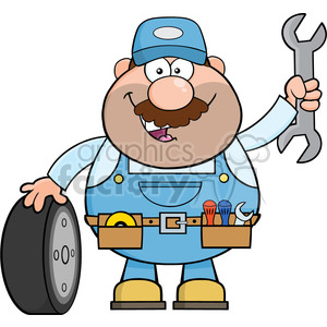 8553 Royalty Free RF Clipart Illustration Smiling Mechanic Cartoon  Character With Tire And Huge Wrench Vector Illustration Isolated On White  clipart..