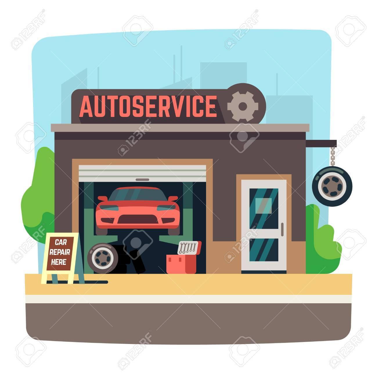 Car repair mechanic shop with automobile inside auto garage.