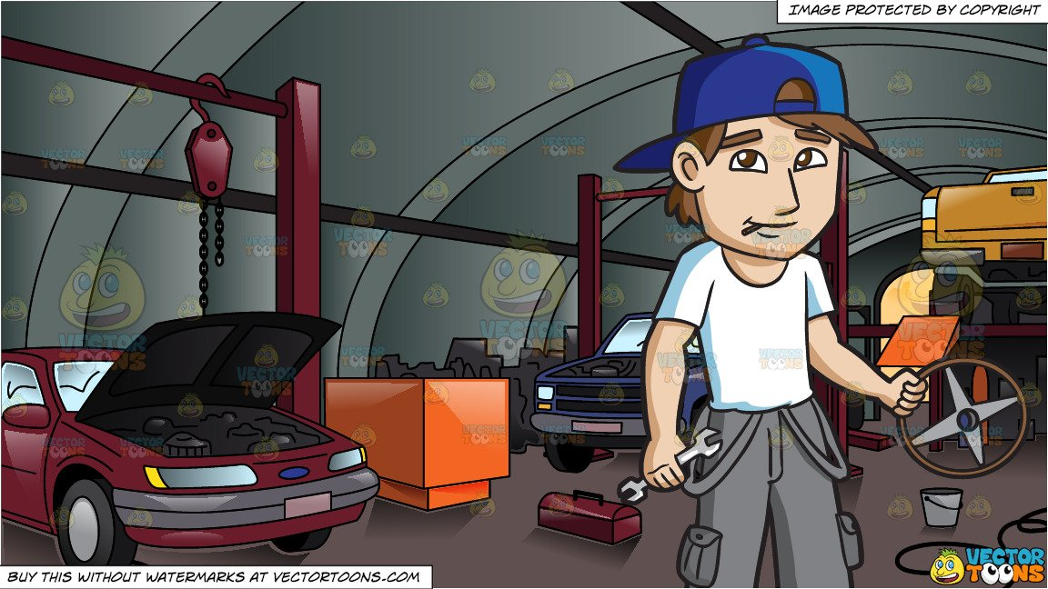 A Male Car Mechanic and Inside An Auto Repair Shop With Cars.