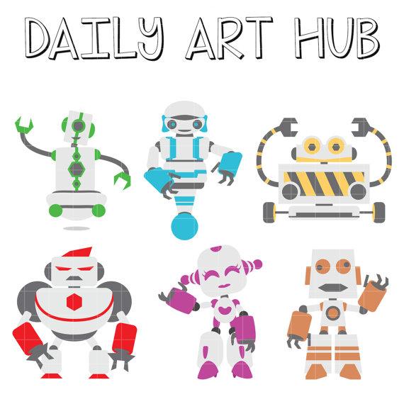 Items similar to Robots Clip Art, Mechanical Device Clip Art.