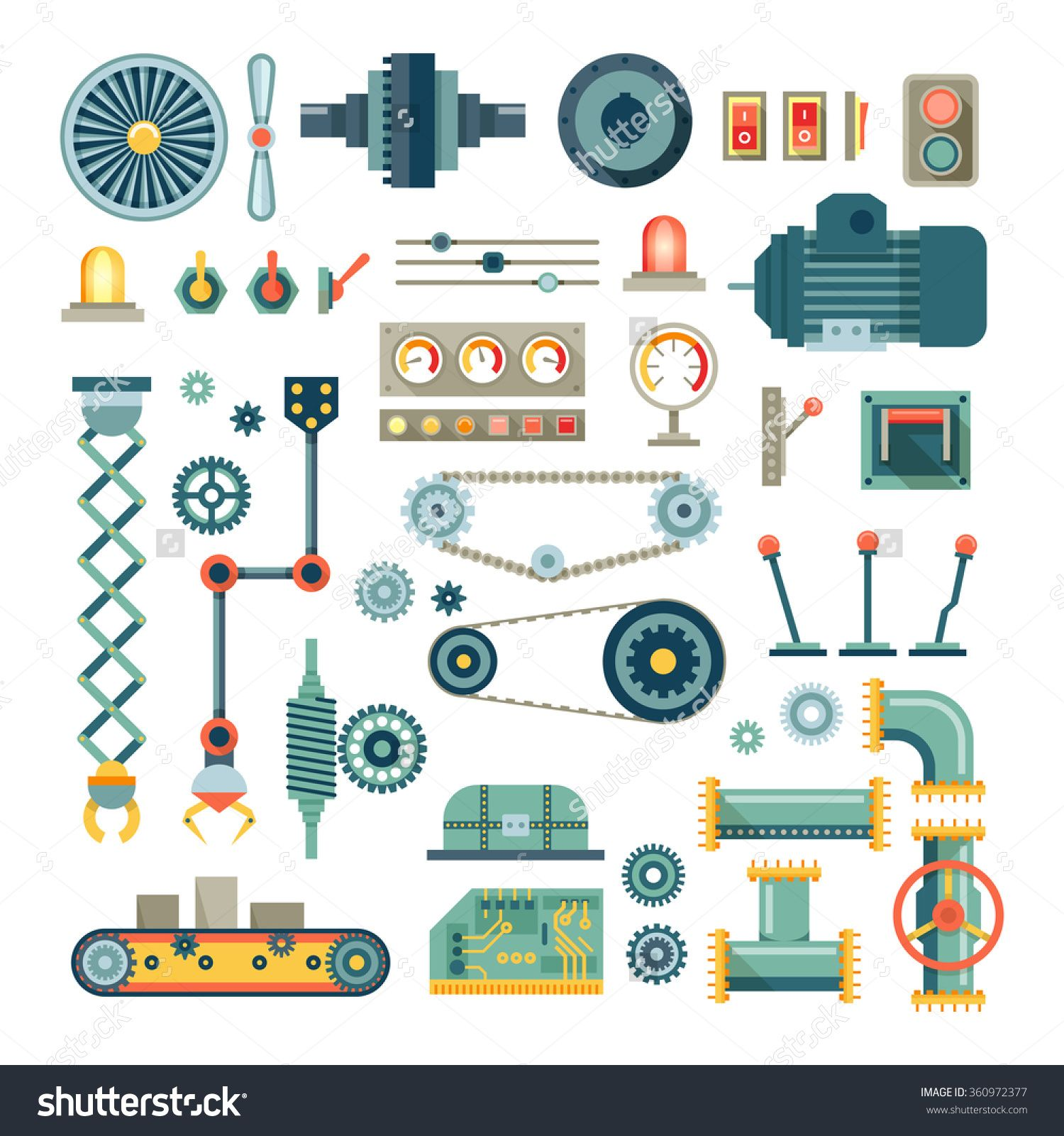 Parts Of Machinery And Robot Flat Icons Set. Mechanical.