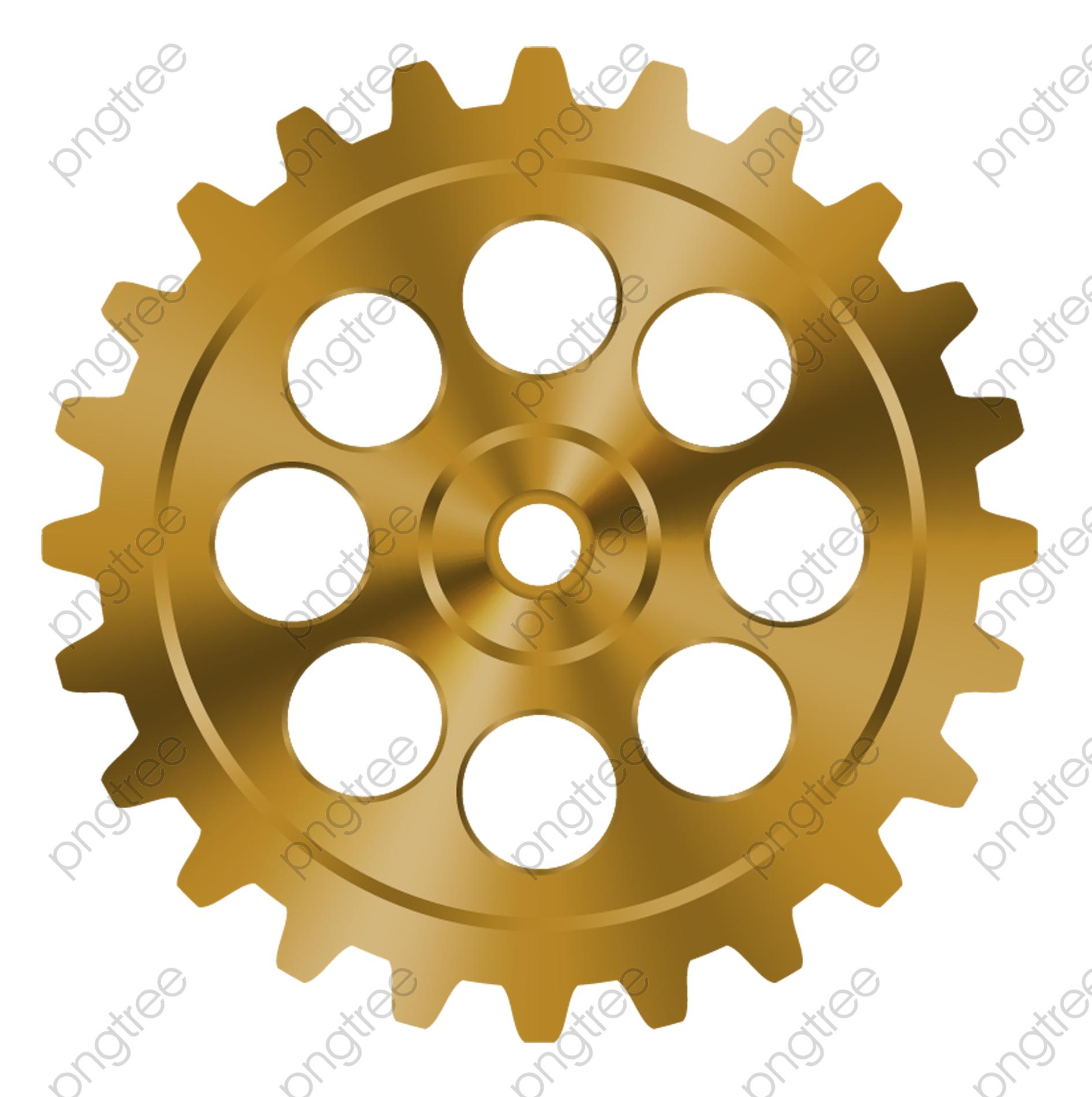 Transparent golden internal round hole gear mechanical parts.