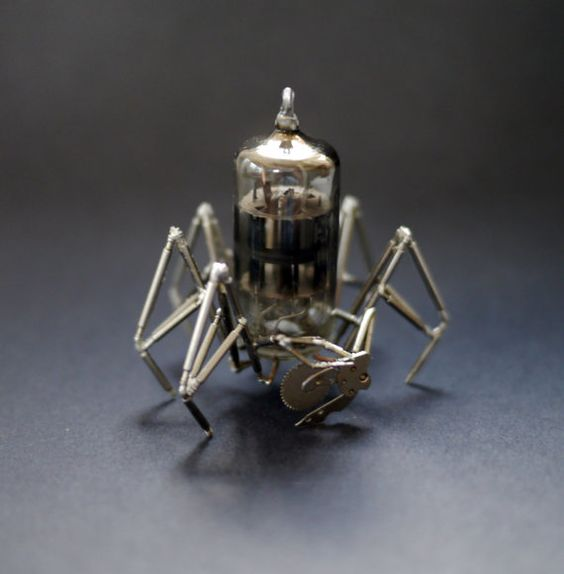 Vacuum Tube Spider Sculpture No 5 Mechanical Recycled Watch Parts.