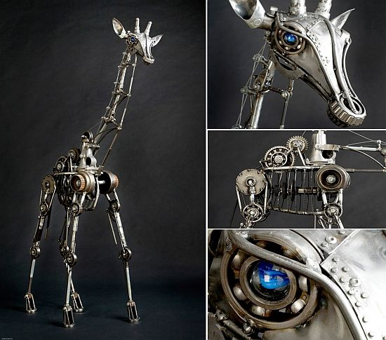 Steampunk Sculpture Giraffe Parts by Andrew Chase1 Steampunk.
