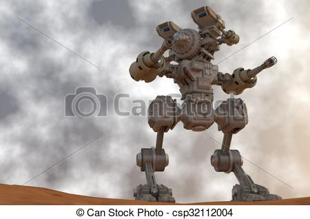 Stock Illustration of Mechanical warrior on alert.
