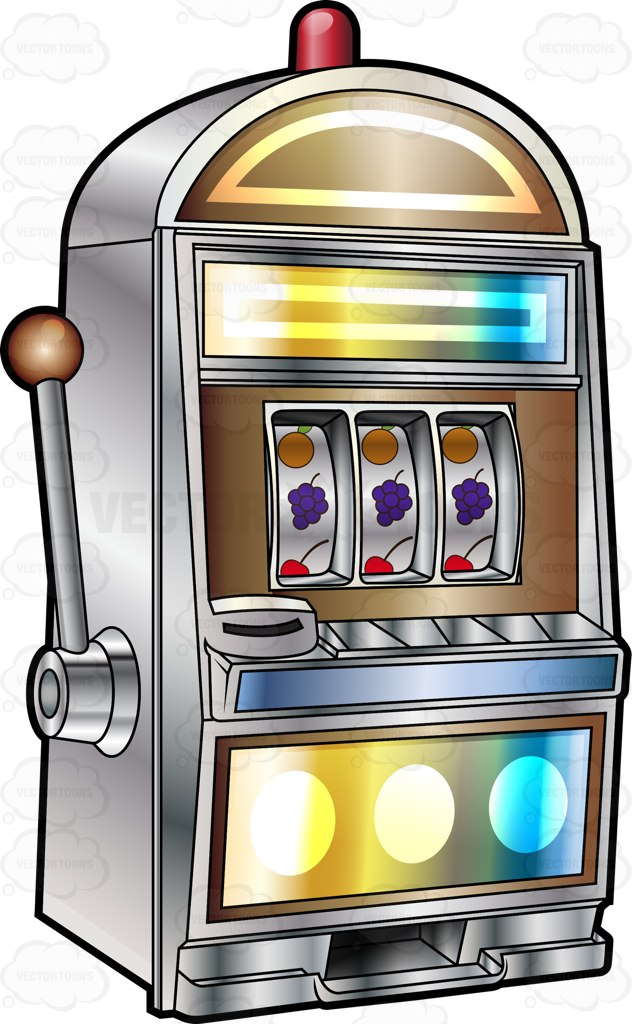 Fruit Slot Machine With Siren Cartoon Clipart.