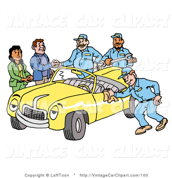 Clipart of a Group of Friendly Mechanics Finishing up Work on a.