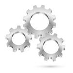 Mechanism with chrome cogwheels Vector Image #9493.