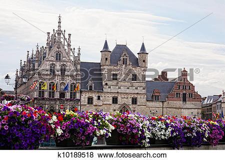 Pictures of City town hall in Mechelen (Malines), Belgium.
