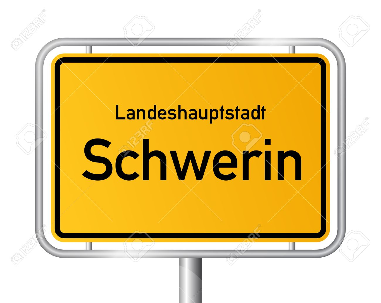 City Limit Sign SCHWERIN Against White Background.