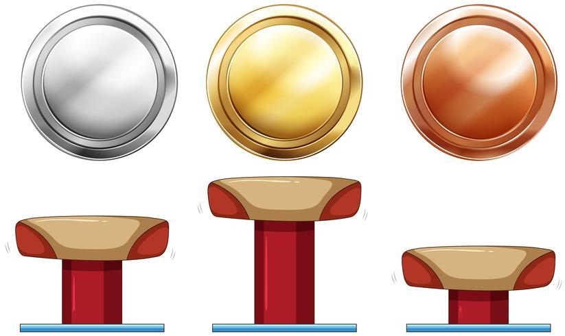 Drei Medaillen für Schwebebalken.