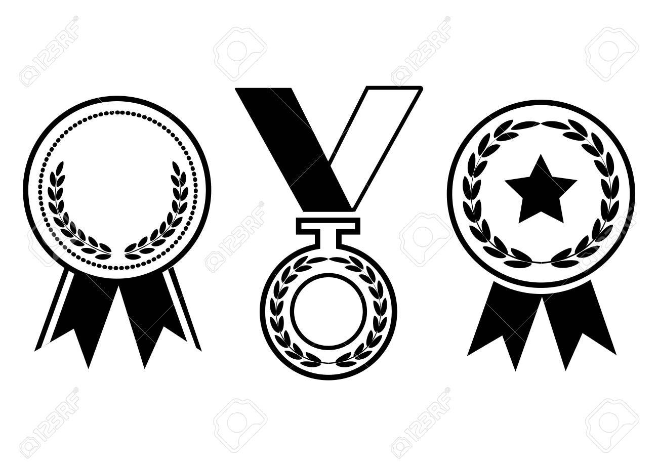Black and white award, medal with ribbon. Vector.