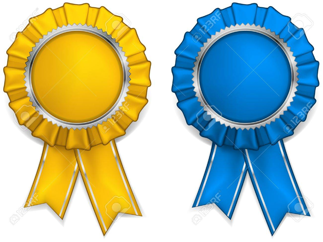 Award yellow and blue rosettes with medals and ribbons.