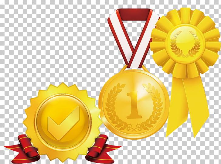 Medalla de oro premio, medalla de oro elemento insignia PNG.