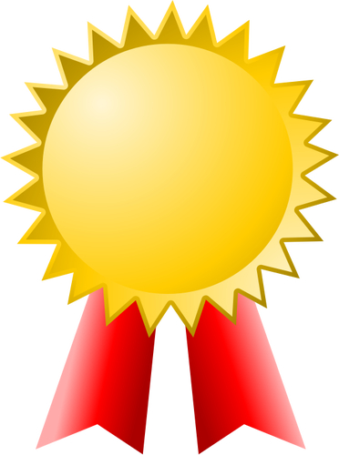 Vector clip art of medal with red ribbon.