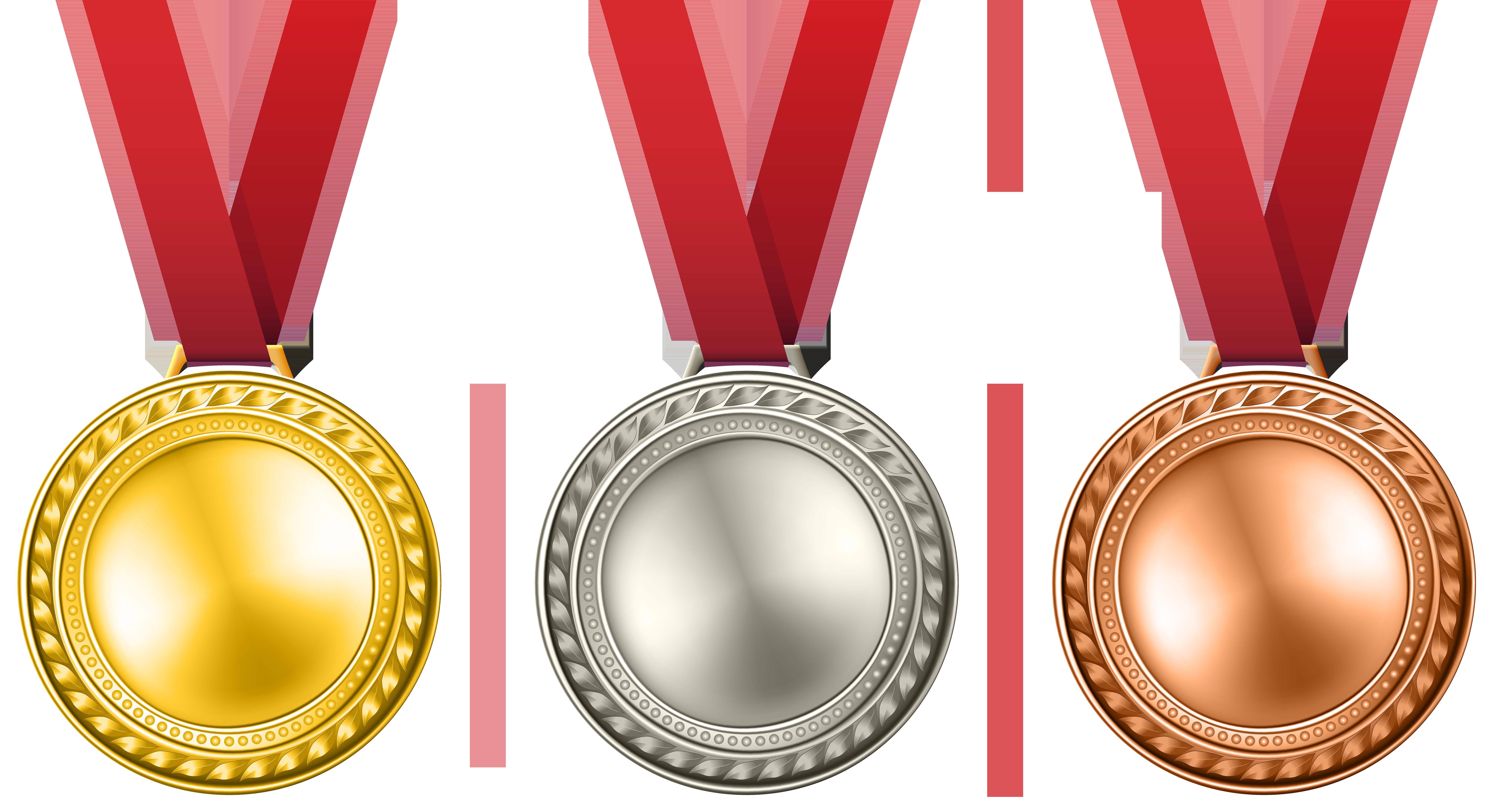 Medals Set Transparent PNG Clip Art Image.