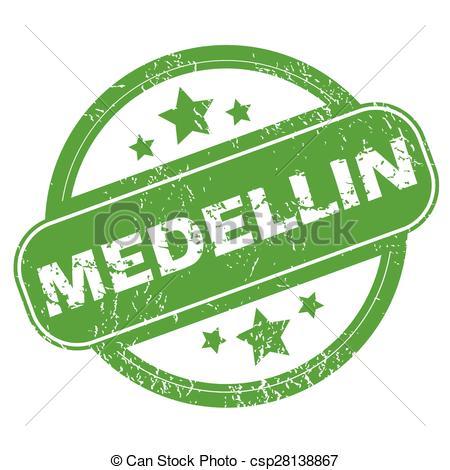 Clip Art Vector of Medellin green stamp.