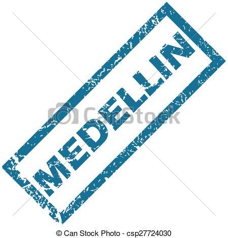 Vectors of Medellin rubber stamp.