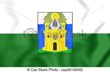 Drawing of Flag of Medellin City, Colombia..