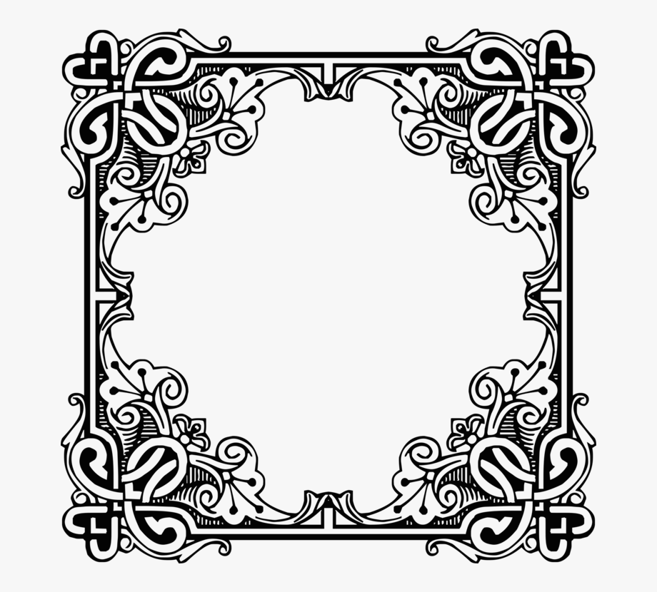 Picture Frames Engraving Antique Retro Style Drawing.