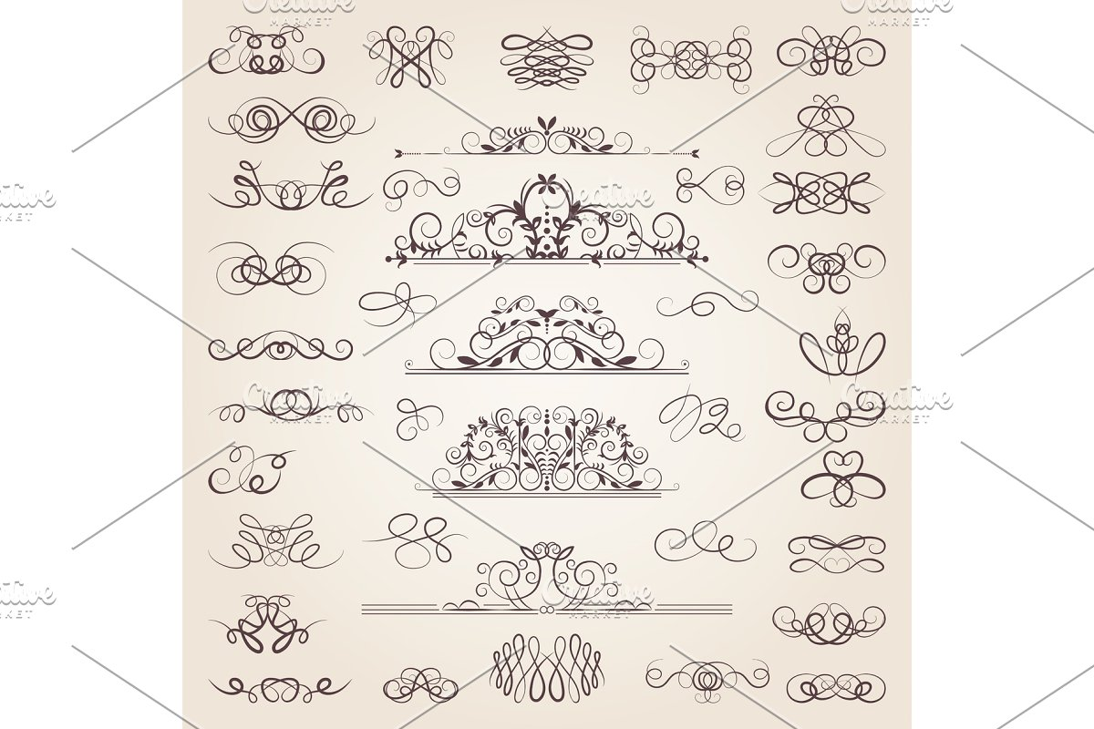Vector set of decorative classical swirls and strokes. Medieval elements set.